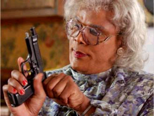 Movie-goers chuckle every time Tyler Perry's character, Madea, pulls a handgun from her purse.